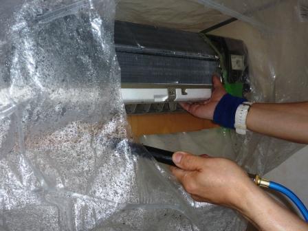 品川区、エコ洗剤エアコンクリーニングサービス写真