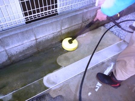 玄関アプローチ・ブロック塀・コンクリート床 高圧洗浄作業中の写真