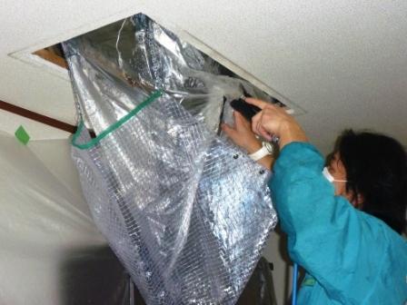 グループホーム、介護施設エアコンクリーニング作業中の画像
