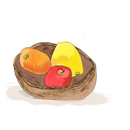オレンジとリンゴとグレープフルーツ/山本 伸明