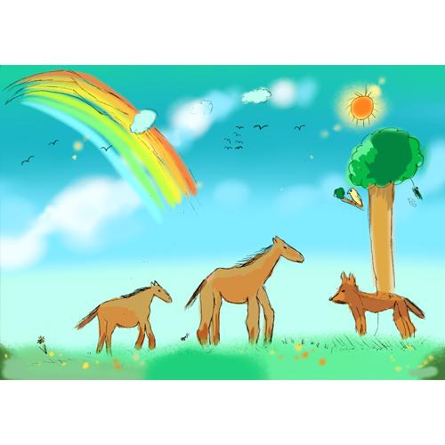 馬の親子/成子 光子