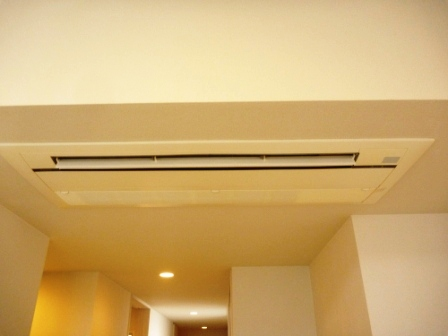 東京都大田区、天井カセット型 1方向エアコンクリーニング