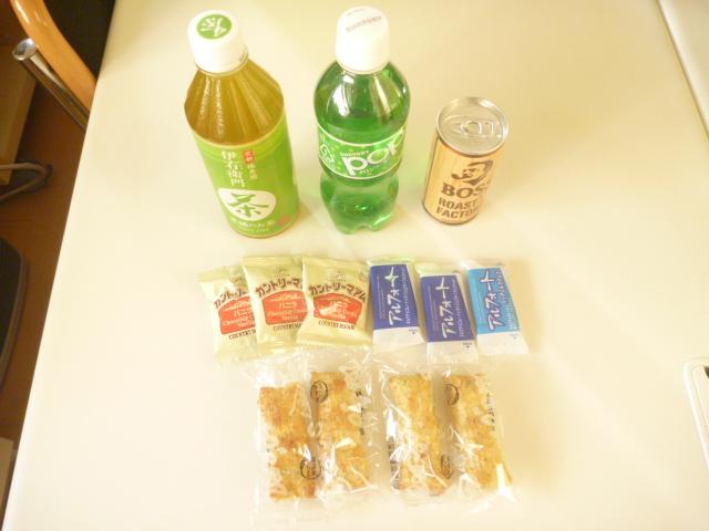大田区のお客様から頂いたお菓子と飲み物類