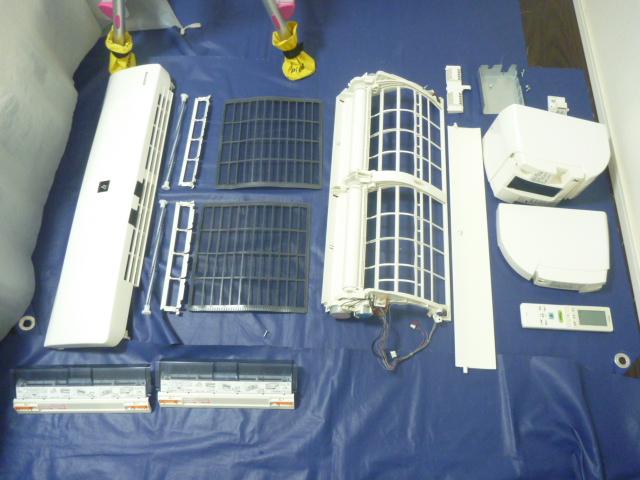 東京都大田区、シャープ製フィルター自動洗浄お掃除機能付きエアコンクリーニング後