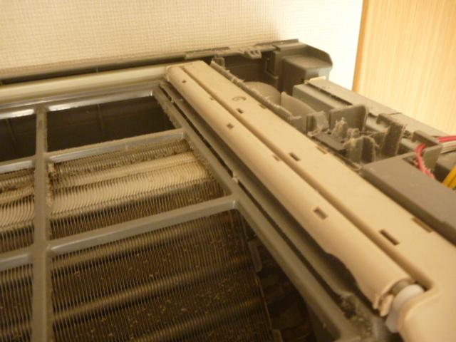 神奈川県川崎市中原区、日立製フィルター自動お掃除機能付きエアコンクリーニング前