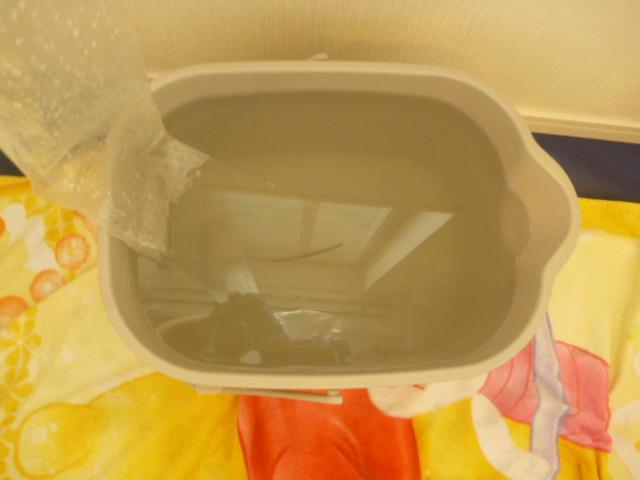 神奈川県川崎市川崎区港町、日立フィルター自動お掃除機能付きエアコンクリーニング汚水