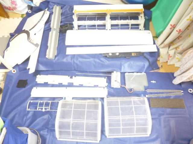 東京都大田区羽田、ダイキンAN28PRSフィルター自動お掃除機能付きエアコンクリーニング分解パーツ類