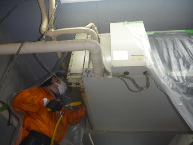東京都大田区、天井吊り形業務用エアコン洗浄の画像
