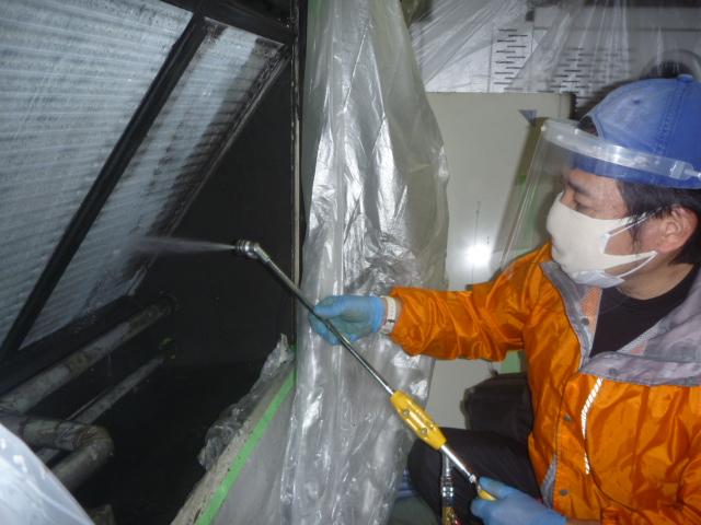 東京都大田区、業務用床置きエアコンクリーニングの画像